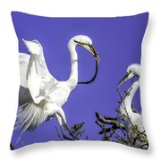 Great Egrets Nesting Throw Pillow