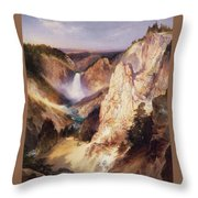 Great Falls Of Yellowstone Throw Pillow by Thomas Moran