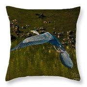 Great Heron Over Oyster Beds Throw Pillow