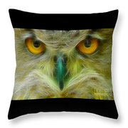 Great Horned Eyes Fractal Throw Pillow