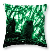Great Horned Owl And Owlet Throw Pillow