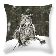 Great Horned Owl In A Winter Snow Storm Throw Pillow