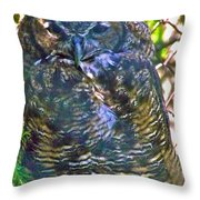 Great Horned Owl In Salmonier Nature Park-nl Throw Pillow