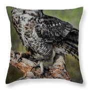 Great Horned Owl On Branch Throw Pillow