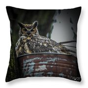 Great Horned Owl On Nest Throw Pillow