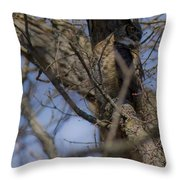 Great Horned Owl On Watch Throw Pillow