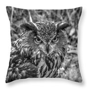 Great Horned Owl V7 Throw Pillow