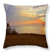 Great Lake Great Sunset Throw Pillow