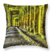 Great Norther Railroad Snow Shed - Electric Neon Throw Pillow