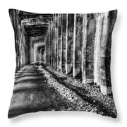 Great Northern Railroad Snow Shed - Black And White Throw Pillow