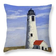 Great Point Lighthouse Nantucket Massachusetts Throw Pillow