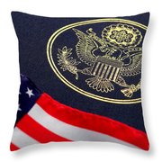 Great Seal Of The United States And American Flag Throw Pillow by Olivier Le Queinec