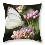 Great Southern White Butterfly On Pink Flowers Throw Pillow