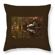 Great White Egret And Mallard Flight Sunrise Reflection Throw Pillow
