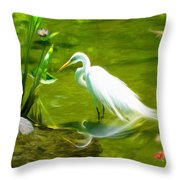 Great White Egret Bird With Deer And Fish In Lake  Throw Pillow