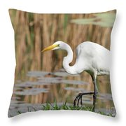 Great White Egret By The River Too Throw Pillow