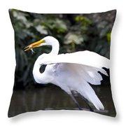 Great White Egret Eating Fish 1 Throw Pillow