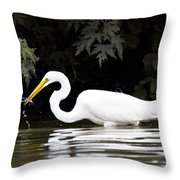 Great White Egret Eating Fish 2 Throw Pillow