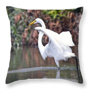 Great White Egret Fishing 1 Throw Pillow