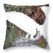 Great White Egret Splash 1 Throw Pillow