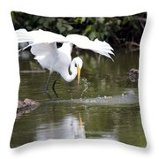 Great White Egret Wingspan And Turtles Throw Pillow