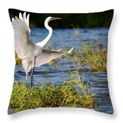 Great White Out Of The Blue Throw Pillow