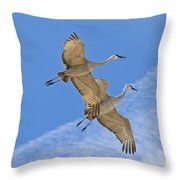 Greater Sandhill Cranes In Flight Throw Pillow