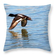 Greater Scaup In Flight Throw Pillow
