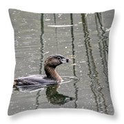Grebe In The Reeds Throw Pillow