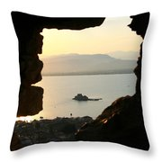 Greece-nafplio Bourtzi From Castle Throw Pillow