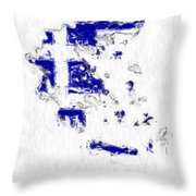 Greece Painted Flag Map Throw Pillow
