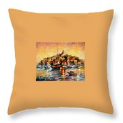 Greek Day - Palette Knife Oil Painting On Canvas By Leonid Afremov Throw Pillow