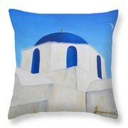 Greek Island Church  Throw Pillow