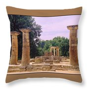 Greek Ruins At Olympia Throw Pillow