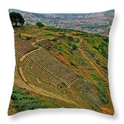 Greek Theatre With Bergama In Background From Pergamum-turkey Throw Pillow