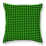 Green And Black Checkered Pattern Cloth Background Throw Pillow