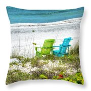 Green And Blue Chairs Throw Pillow