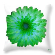 Green And Blue Dahlia Throw Pillow