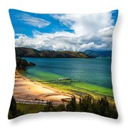 Green And Blue Lake Throw Pillow