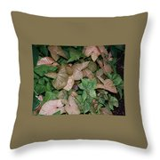 Green And Brown Leaves Throw Pillow