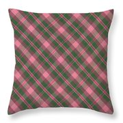 Green And Pink Diagonal Plaid Pattern Textile Background Throw Pillow