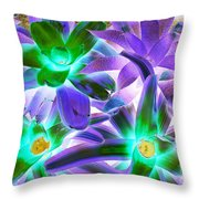 Green And Purple Cactus Throw Pillow