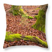 Green And Red Nature In The Forest Throw Pillow