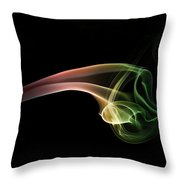 Green And Red Smoke Abstract Throw Pillow