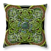 Green And Silver Celtic Cross Throw Pillow