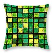 Green And Yellow Sudoku Throw Pillow
