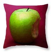 Green Apple Nibbled 1 Throw Pillow