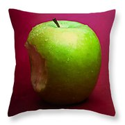 Green Apple Nibbled 2 Throw Pillow