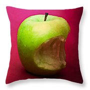 Green Apple Nibbled 3 Throw Pillow