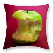 Green Apple Nibbled 8 Throw Pillow